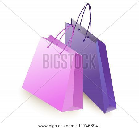 Two Color Shopping Bag Is Empty