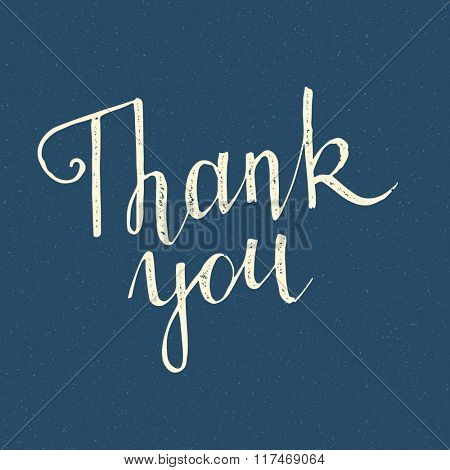 Thank you handwritten lettering in vintage style