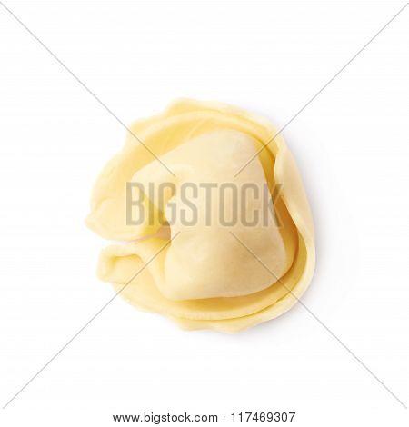 Single ravioli dumpling isolated