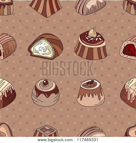 Seamless pattern with different kinds of chocolate candies - milk,dark,white chocolate. Vintage style.  Endless texture for your design, announcements, cards, posters, restaurant menu.