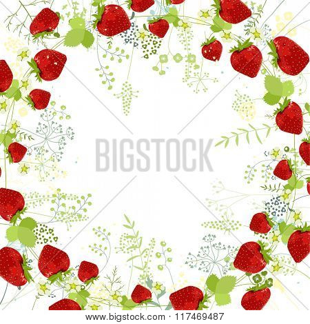 Square frame with contour strawberries and herbs on white. Floral pattern for your summer design, floral greeting cards, posters.