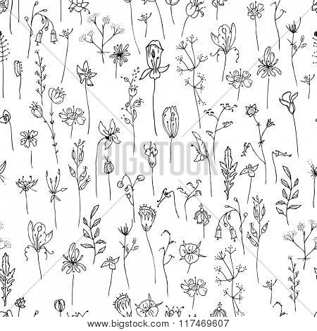 Seamless pattern with stylized herbs and plants.  Black and white silhouette. Endless texture for your design, romantic greeting cards, announcements, fabrics.