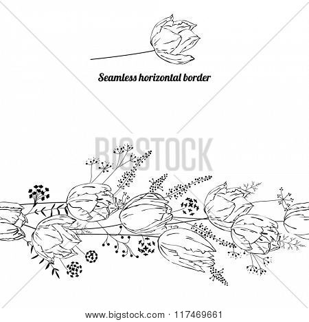 Floral endless pattern brush made of  tulips.  Flowers for romantic design, decoration,  greeting cards, posters, wedding invitations, advertisement.