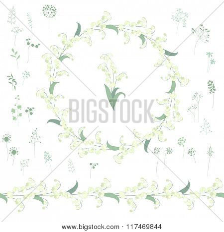 Floral round garland and endless pattern brush made of convallaria.  Flowers for romantic and easter design, decoration,  greeting cards, posters, wedding invitations, advertisement.