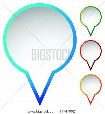 Map Marker, Map Pin Set. Abstract Pushpins, Thumbtacks. Vector.