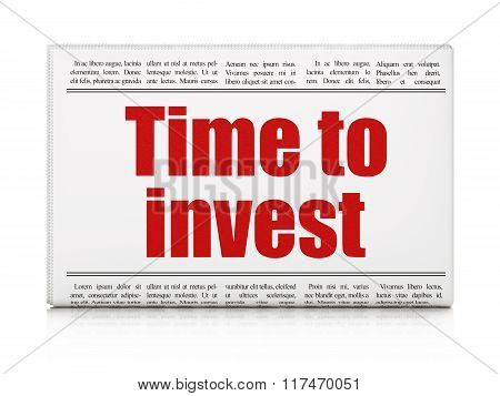 Timeline concept: newspaper headline Time To Invest