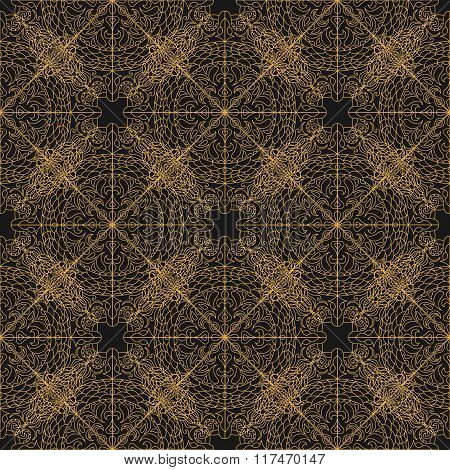 Vector Seamless  Ornate Pattern. Hand Drawn Mandala Texture, Vintage Indian Style Gold Eps 10