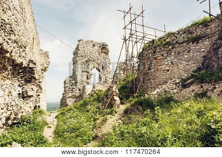 Plavecky Castle In Slovak Republic, Ruins With Scaffolding