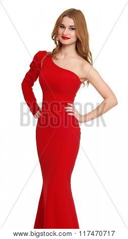 woman in red gown on white