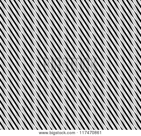 Wavy Diagonal Lines - Monochrome Seamless Geometric Pattern With Abstract Motif