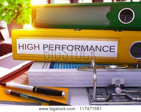 Yellow Ring Binder with Inscription High Performance