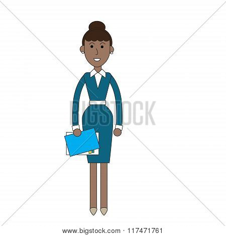 Businesswoman Stand Holding Documents, Business Woman Full Length