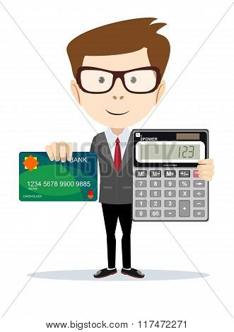 Businessman or Accountant with a Calculator