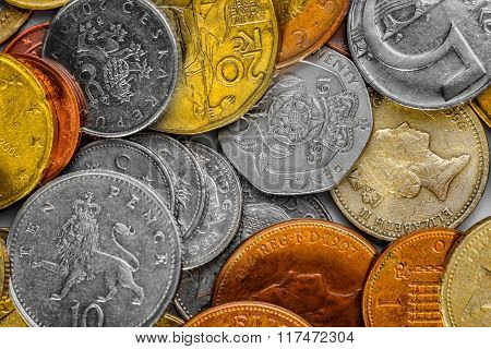 Collection of various international coins closeup