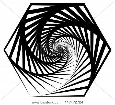 Abstract Shape With Vortex, Rotation Effect Inwards