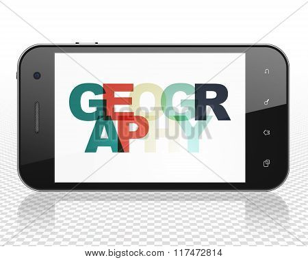 Science concept: Smartphone with Geography on  display
