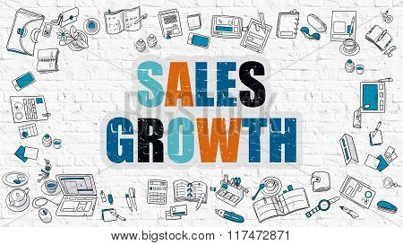 Sales Growth Concept with Doodle Design Icons.