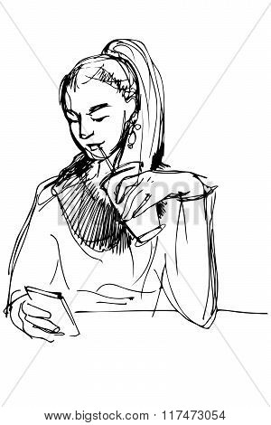 Sketch Of A Girl Drinking Through A Straw And Looking At Phone
