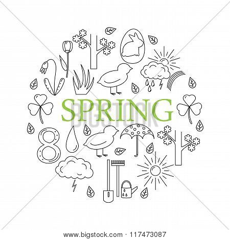Symbols of spring in the style of line, located in the circle on white background.