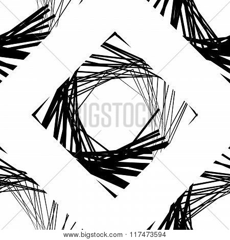 Seamless Pattern Of Squares With Random Lines - Repeatable Monochrome Vector Art