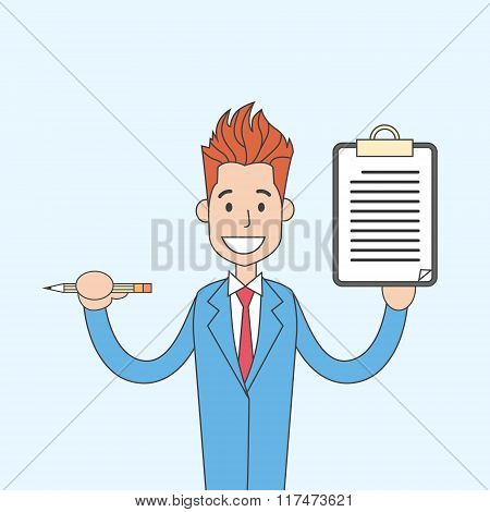 Businessman Holding Document Contract Sign Up Concept