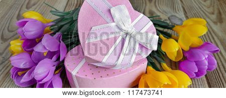 Bouquet Of Crocuses And Gift Box