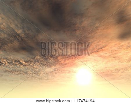 A sunset or sunrise background with clouds and the sun close to horizon