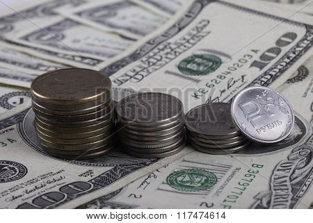 coins of the Russia ruble on USD closeup
