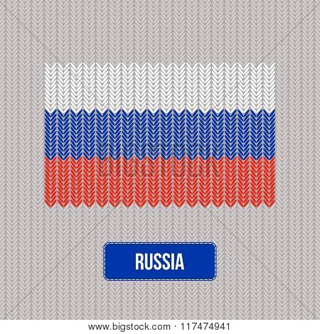 Knitting Russia flag. Stylish background. Vector illustration. Can be used for web pages, prints and