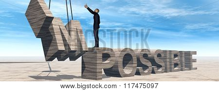 Concept conceptual 3D business man standing over abstract stone impossible text on sky background banner