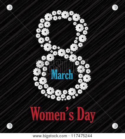 8 march Womens day on black board