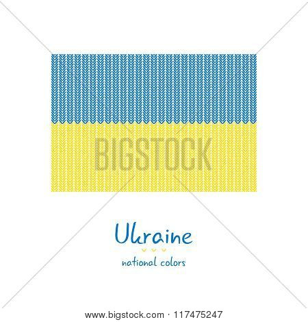 Knitting Ukraine flag. Stylish background. Vector illustration. Can be used for web pages, prints an