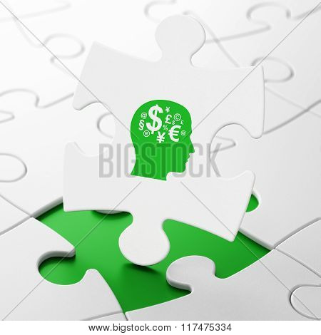 Learning concept: Head With Finance Symbol on puzzle background