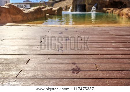 Closeup footprints on the wooden floor behind it swimming pool