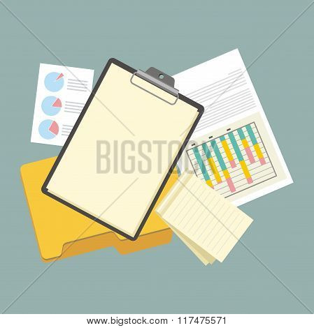 Work Table Tablet and Document Design Flat
