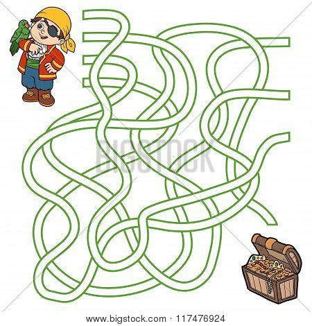 Maze Game For Children (pirate Boy And Parrot)