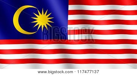 Flag of Malaysia waving in the wind giving an undulating texture of folds in the fabric. The Image is in the official ratio of the flag - 1:2.