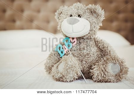 Teddy bear and baby on bed