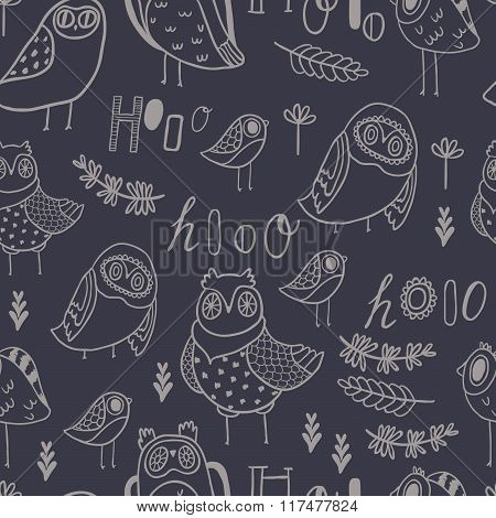 Hooo Seamless Vector pattern. Cute owls, florals and hand lettering