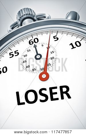 An image of a stopwatch with text loser