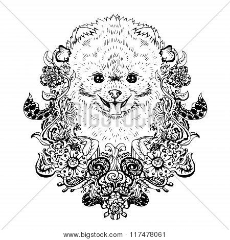 Spitz graphic dog, abstract vector illustration