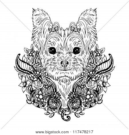 Yorkshire Terrier graphic dog, abstract vector illustration