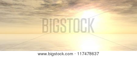 A beautiful seascape with water and reflection of the sky with clouds at sunset background banner