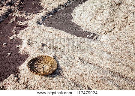 Empty basket at salt mine at Sambhar Lake, Sambhar, Rajasthan, India