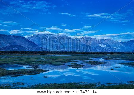 Nubra valley in Himalayas after sunset in twilight. Ladakh, India