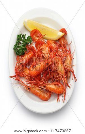 deep fried freshwater shrimps isolated on white background