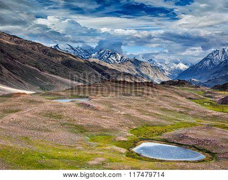 Small lake in Himalayas. Spiti valley, Himachal Pradesh, India