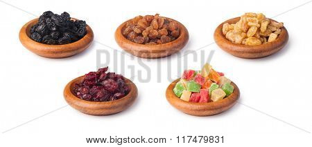 dried berries collection on a white background