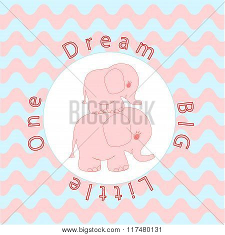 Nursery room wall decoration Baby poster Mother and baby animals, Cartoon baby elephant on Wavy stri