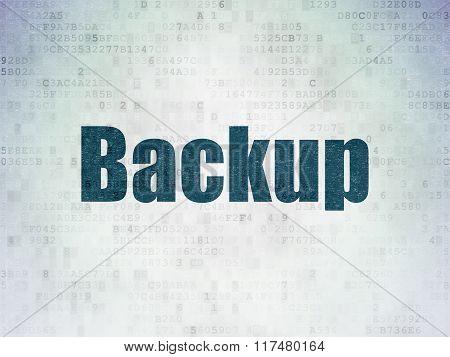 Database concept: Backup on Digital Paper background